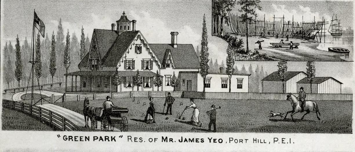 A black and white illustraton featuring a 19th-century home with a large gabled roof. Text above and below the illustration identifies the house as the residence of John Yeo of Port Hill, PEI.
